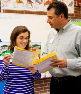 volunteer and teacher