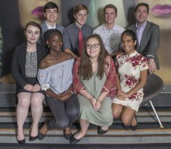 Seven JA Business Week students and Nick Quinlan, Company Advisor, posed for team photo