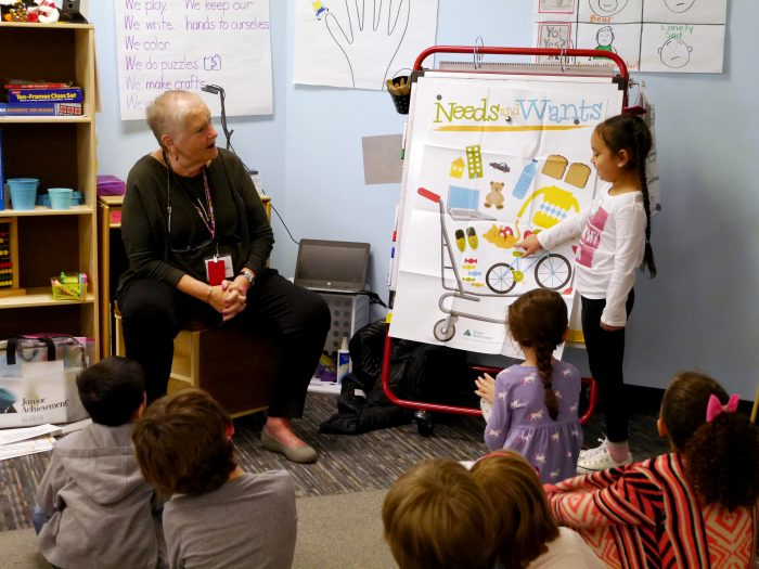 Susan Zapata teaching a group of kindergarten students