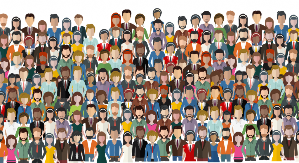 Animated graphic of a large group of employees.