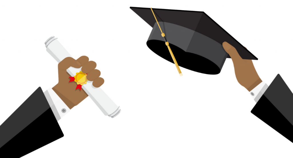 Animated graphic of two arms holding a graduate cap and diploma.