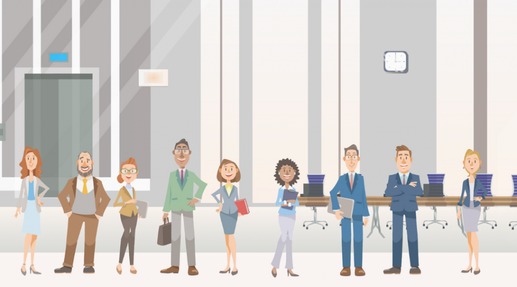 Animated graphic of employees in a line in business office.