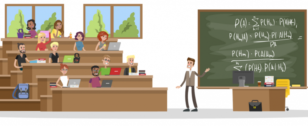Animated graphic of professor standing in front of classroom with chalkboard.