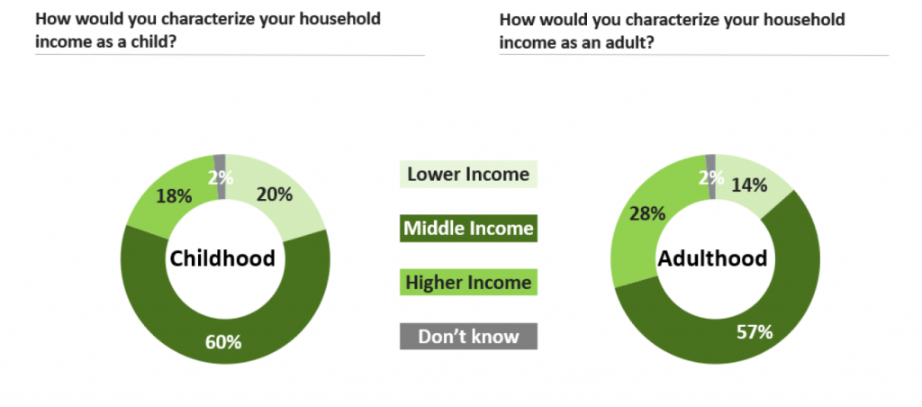 Household income as a child: 20% lower income, 60% middle, 18% higher. Household income as an adults: 14% lower, 57% middle, and 28% higher.