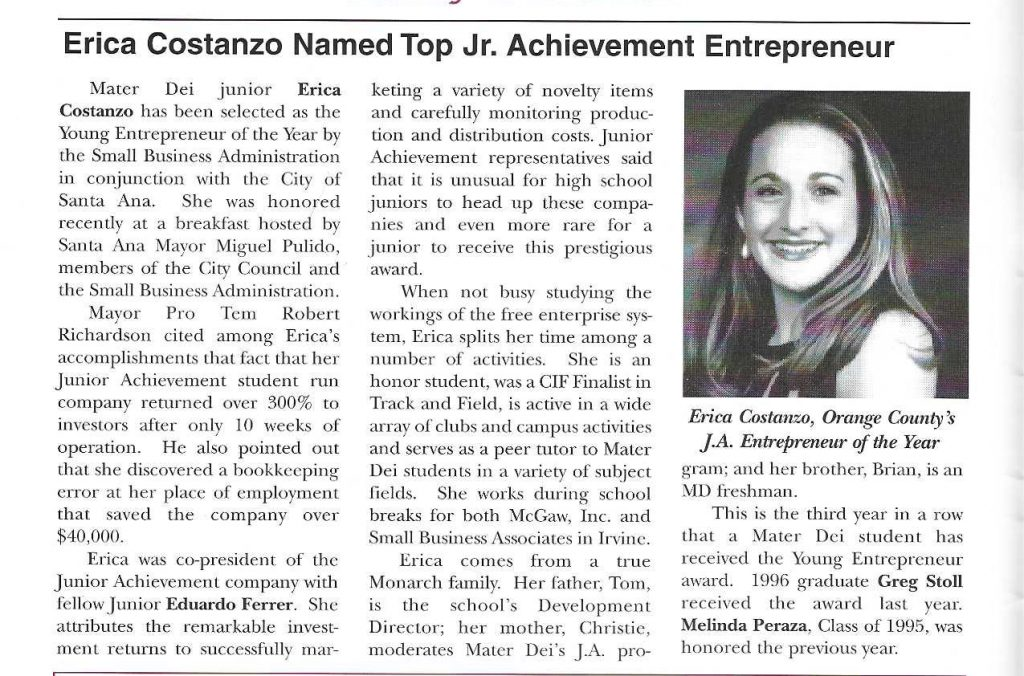 Old news article with headline Erica Costanzo named Top Jr. Achievement Entrepreneur