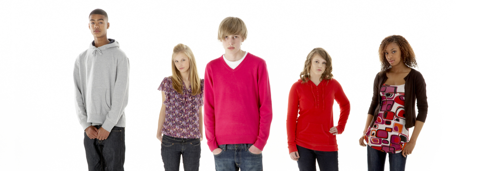 Group of teens looking serious