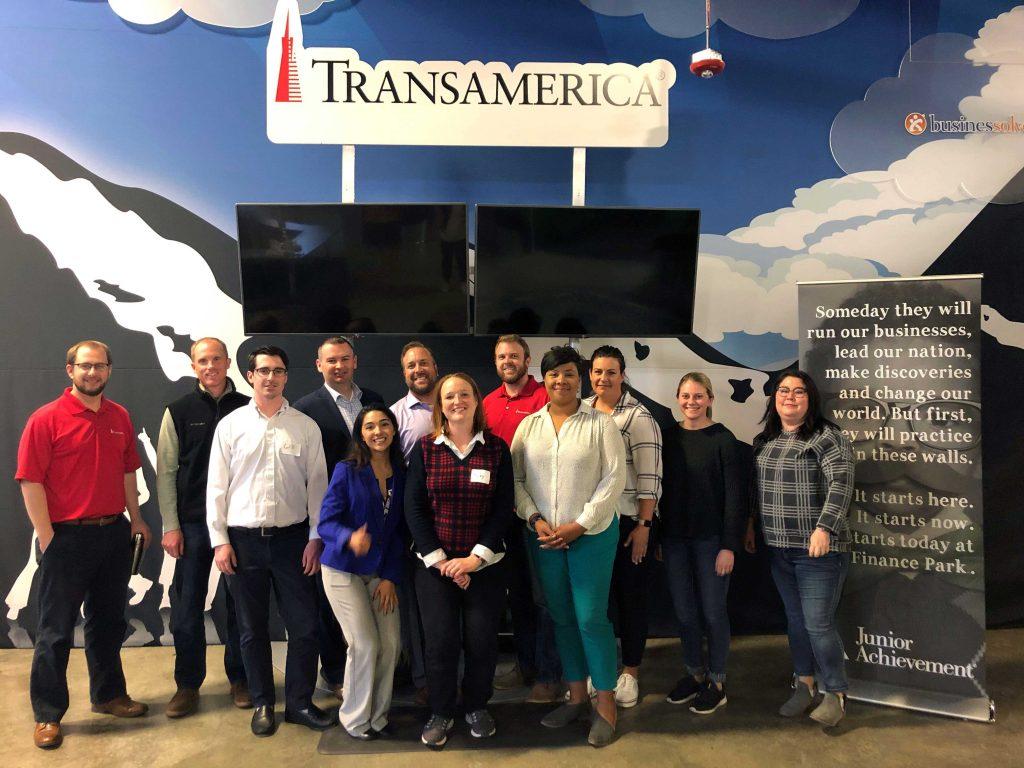 Transamerica employees volunteering at JA Finance Park