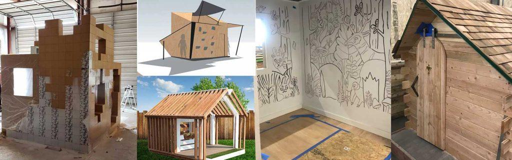 Progress photos of Parade of Playhouses playhouses for Junior Achievement