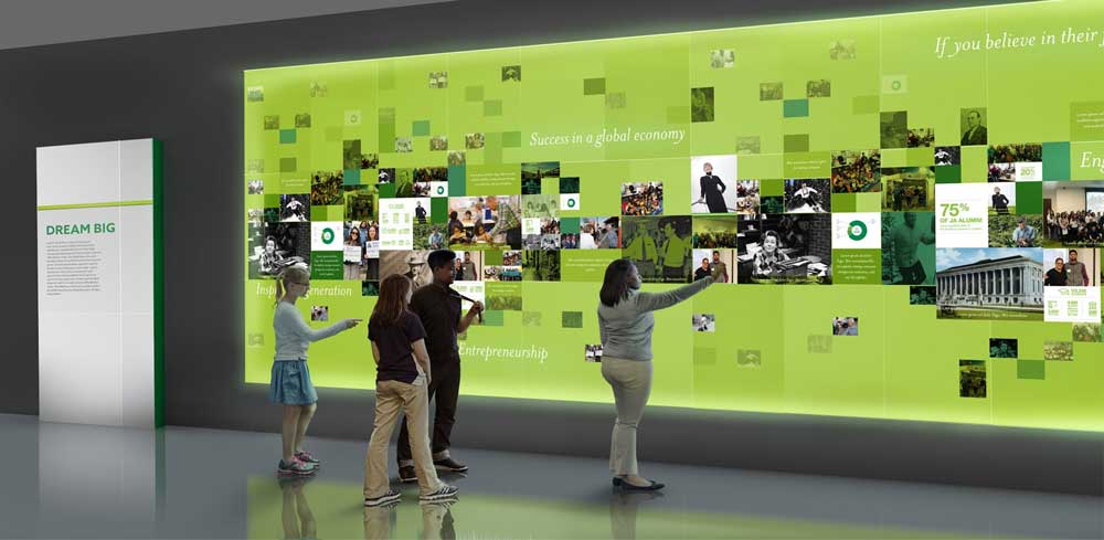 rendering of kids using digital touch screen wall